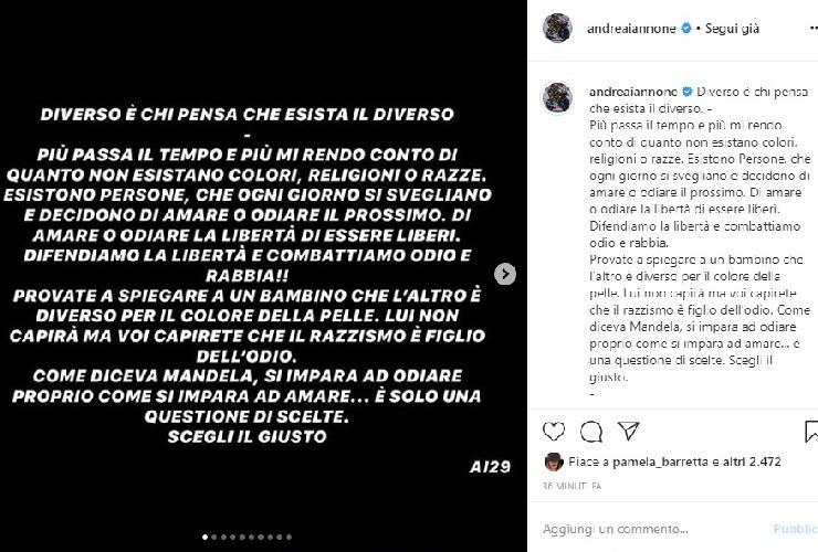 Andrea Iannone contro il razzismo